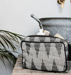 meraki make up bag etnische print zwart, grijs en wit